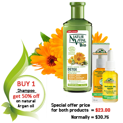 Detox Shampoo with 50% off on natural argan oil