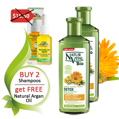 2 Detox Shampoos and FREE natural argan oil